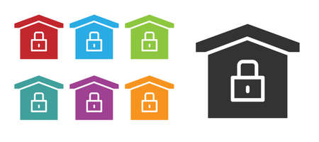 Black House under protection icon isolated on white background. Home and lock. Protection, safety, security, protect, defense concept. Set icons colorful. Vector Illustration