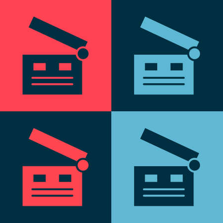 Pop art Movie clapper icon isolated on color background. Film clapper board. Clapperboard sign. Cinema production or media industry. Vector Illustration