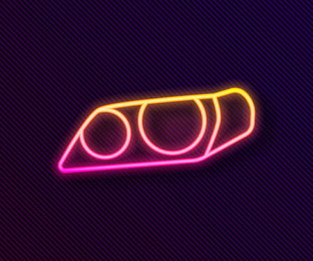Glowing neon line Car headlight icon isolated on black background. Vector Illustration