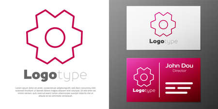 Logotype line Gear icon isolated on white background. Cogwheel gear settings sign. Cog symbol. Logos