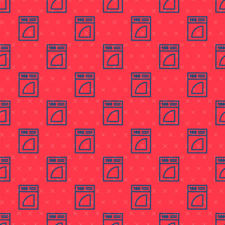 Blue line Coffee paper filter icon isolated seamless pattern on red background. Vector Illustration