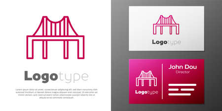 Logotype line Golden gate bridge icon isolated on white background. San Francisco California United States of America.