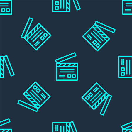 Green line Movie clapper icon isolated seamless pattern on blue background. Film clapper board. Clapperboard sign. Cinema production or media industry. Vector Illustration Stock Illustratie