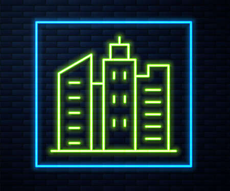 Glowing neon line City landscape icon isolated on brick wall background. Metropolis architecture panoramic landscape. Vector Illustration