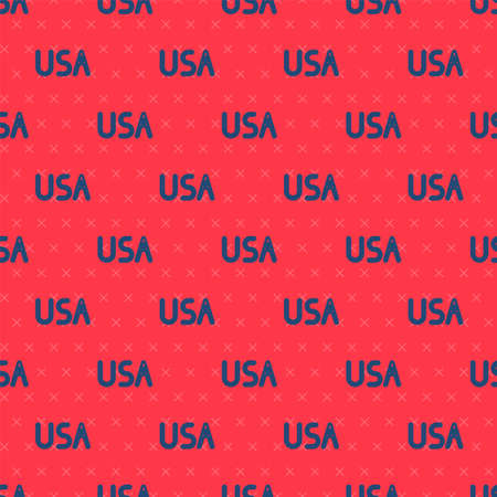 Blue line USA label icon isolated seamless pattern on red background. United States of America. Vector Illustration