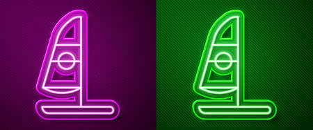 Glowing neon line Windsurfing icon isolated on purple and green background. Vector Illustration Stock Illustratie