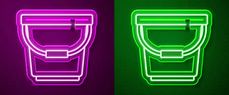 Glowing neon line Bucket icon isolated on purple and green background. Vector Illustration