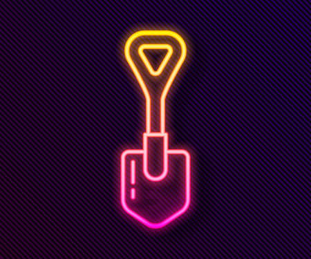 Glowing neon line Shovel icon isolated on black background. Gardening tool. Tool for horticulture, agriculture, farming. Vector Illustration