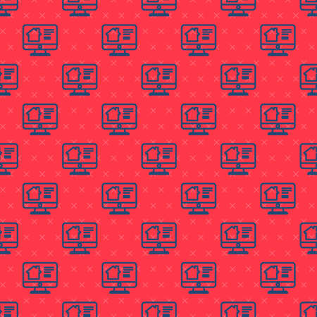 Blue line Online real estate house on monitor icon isolated seamless pattern on red background. Home loan concept, rent, buy, buying a property. Vector Illustration