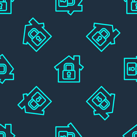 Green line House under protection icon isolated seamless pattern on blue background. Home and lock. Protection, safety, security, protect, defense concept. Vector Illustration
