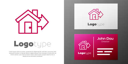Logotype line Sale house icon isolated on white background. Buy house concept. Home loan concept, rent, buying a property. Logo design template element. Vector Illustration