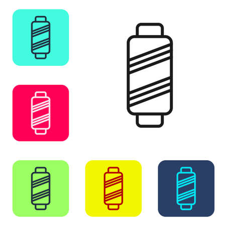 Black line Sewing thread on spool icon isolated on white background. Yarn spool. Thread bobbin. Set icons in color square buttons. Vector Illustration