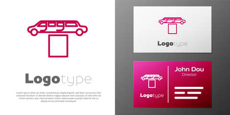 Logotype line Luxury limousine car and carpet icon isolated on white background. For world premiere celebrities and guests poster.
