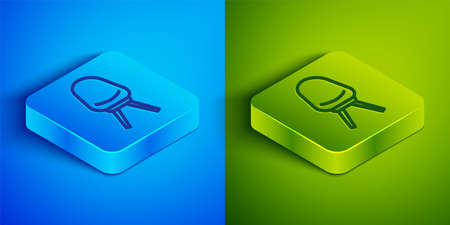Isometric line Office chair icon isolated on blue and green background. Square button. Vector Illustration