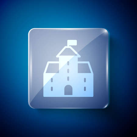 White Castle icon isolated on blue background. Medieval fortress with a tower. Protection from enemies. Reliability and defense of the city. Square glass panels. Vector Illusztráció
