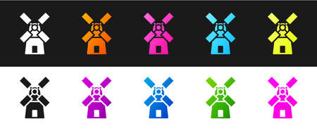 Set Windmill icon isolated on black and white background. Vector