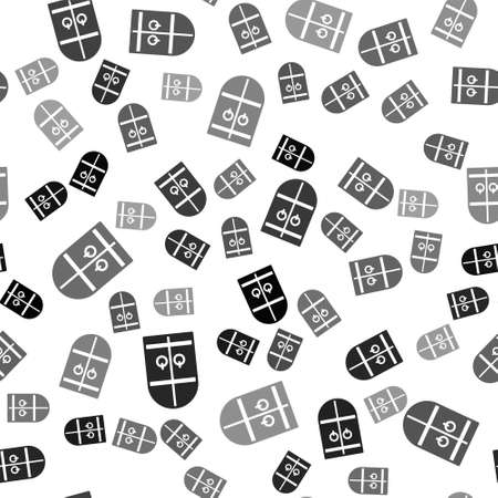 Black Medieval castle gate icon isolated seamless pattern on white background. Medieval fortress. Protection from enemies. Vector