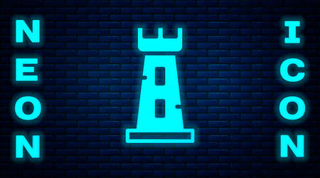 Glowing neon Castle tower icon isolated on brick wall background. Fortress sign. Vector