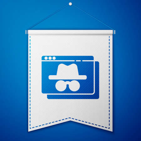 Blue Browser incognito window icon isolated on blue background. White pennant template. Vector