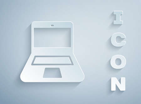 Paper cut Laptop icon isolated on grey background. Computer notebook with empty screen sign. Paper art style. Vector
