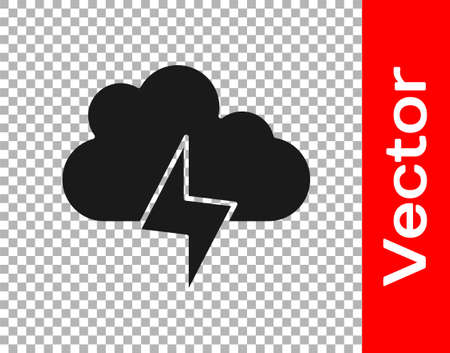 Black Storm icon isolated on transparent background. Cloud and lightning sign. Weather icon of storm. Vector