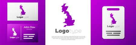 Logotype England map icon isolated on white background. Logo design template element. Vector Ilustracja