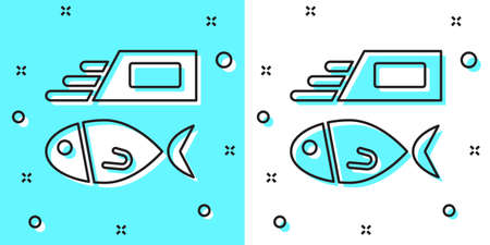 Black line Fish and chips icon isolated on green and white background. Random dynamic shapes. Vector