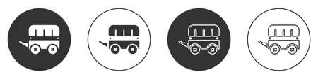 Black Wild west covered wagon icon isolated on white background. Circle button. Vector