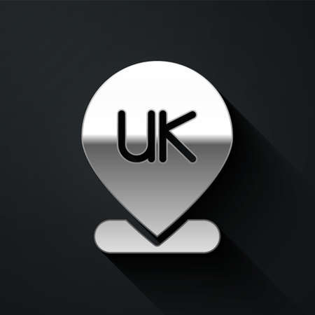 Silver Location England icon isolated on black background. Long shadow style. Vector