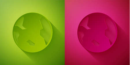 Paper cut Earth globe icon isolated on green and pink background. World or Earth sign. Global internet symbol. Geometric shapes. Paper art style. Vector