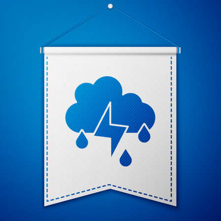 Blue Cloud with rain and lightning icon isolated on blue background. Rain cloud precipitation with rain drops.Weather icon of storm. White pennant template. Vector Stock Illustratie