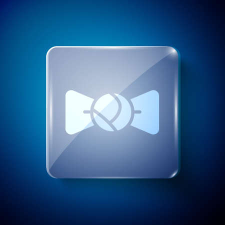 White Bow tie icon isolated on blue background. Square glass panels. Vector