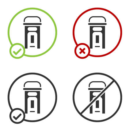 Black London phone booth icon isolated on white background. Classic english booth phone in london. English telephone street box. Circle button. Vector