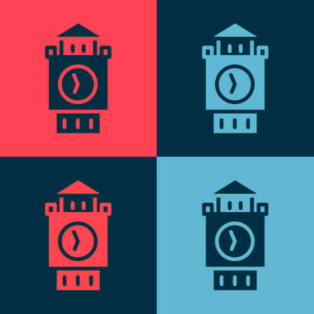 Pop art Big Ben tower icon isolated on color background. Symbol of London and United Kingdom. Vector
