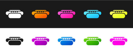 Set Hotdog sandwich icon isolated on black and white background. Sausage icon. Street fast food menu. Vector 矢量图像