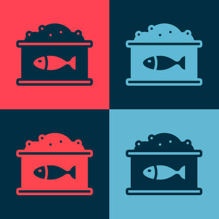 Pop art Tin can with caviar icon isolated on color background. Vector