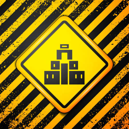 Black Chichen Itza in Mayan icon isolated on yellow background. Ancient Mayan pyramid. Famous monument of Mexico. Warning sign. Vector Ilustração