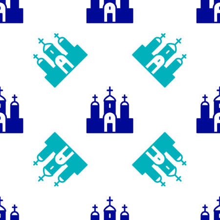 Blue Church building icon isolated seamless pattern on white background. Christian Church. Religion of church. Vector
