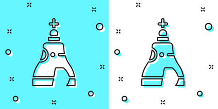 Black line The Tsar bell in Moscow monument icon isolated on green and white background. Random dynamic shapes. Vector Ilustracja