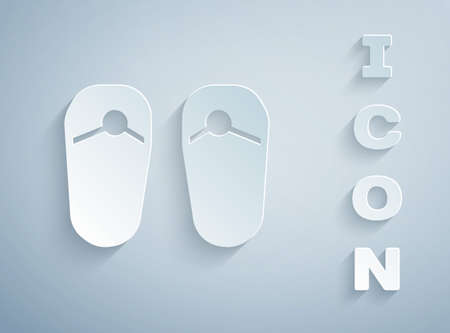 Paper cut Flip flops icon isolated on grey background. Beach slippers sign. Paper art style. Vector Vectores