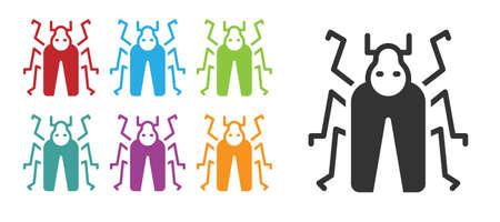Black Beetle bug icon isolated on white background. Set icons colorful. Vector Ilustracja