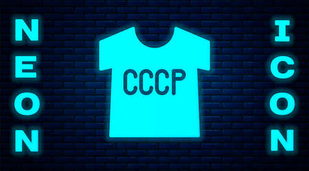 Glowing neon USSR t-shirt icon isolated on brick wall background. Vector Ilustração