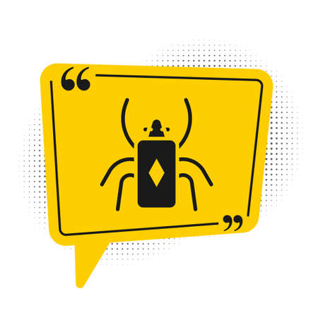 Black Beetle bug icon isolated on white background. Yellow speech bubble symbol. Vector