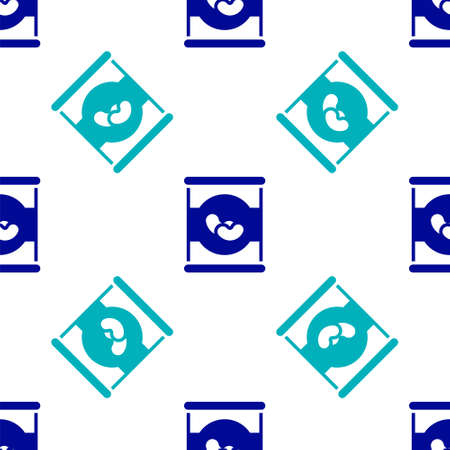 Blue Beans in can icon isolated seamless pattern on white background. Vector