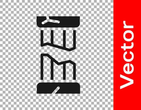 Black Broken ancient column icon isolated on transparent background. Vector Stock Illustratie