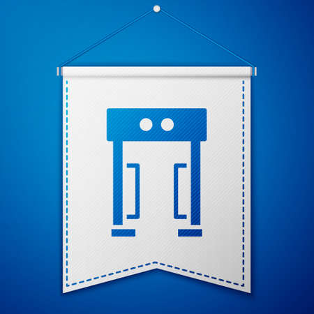Blue Metal detector icon isolated on blue background. Airport security guard on metal detector check point. White pennant template. Vector Ilustração