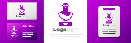 Logotype Ancient bust sculpture icon isolated on white background.