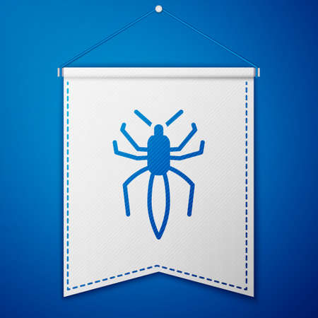 Blue Spider icon isolated on blue background. Happy Halloween party. White pennant template. Vector