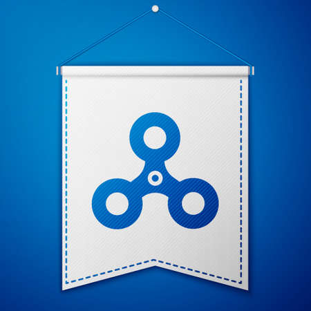 Blue Fidget spinner icon isolated on blue background. Stress relieving toy. Trendy hand spinner. White pennant template. Vector