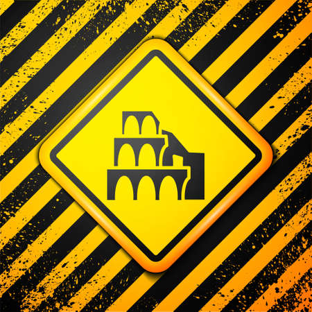 Black Coliseum in Rome, Italy icon isolated on yellow background. Colosseum sign. Symbol of Ancient Rome, gladiator fights. Warning sign. Vector Illustration